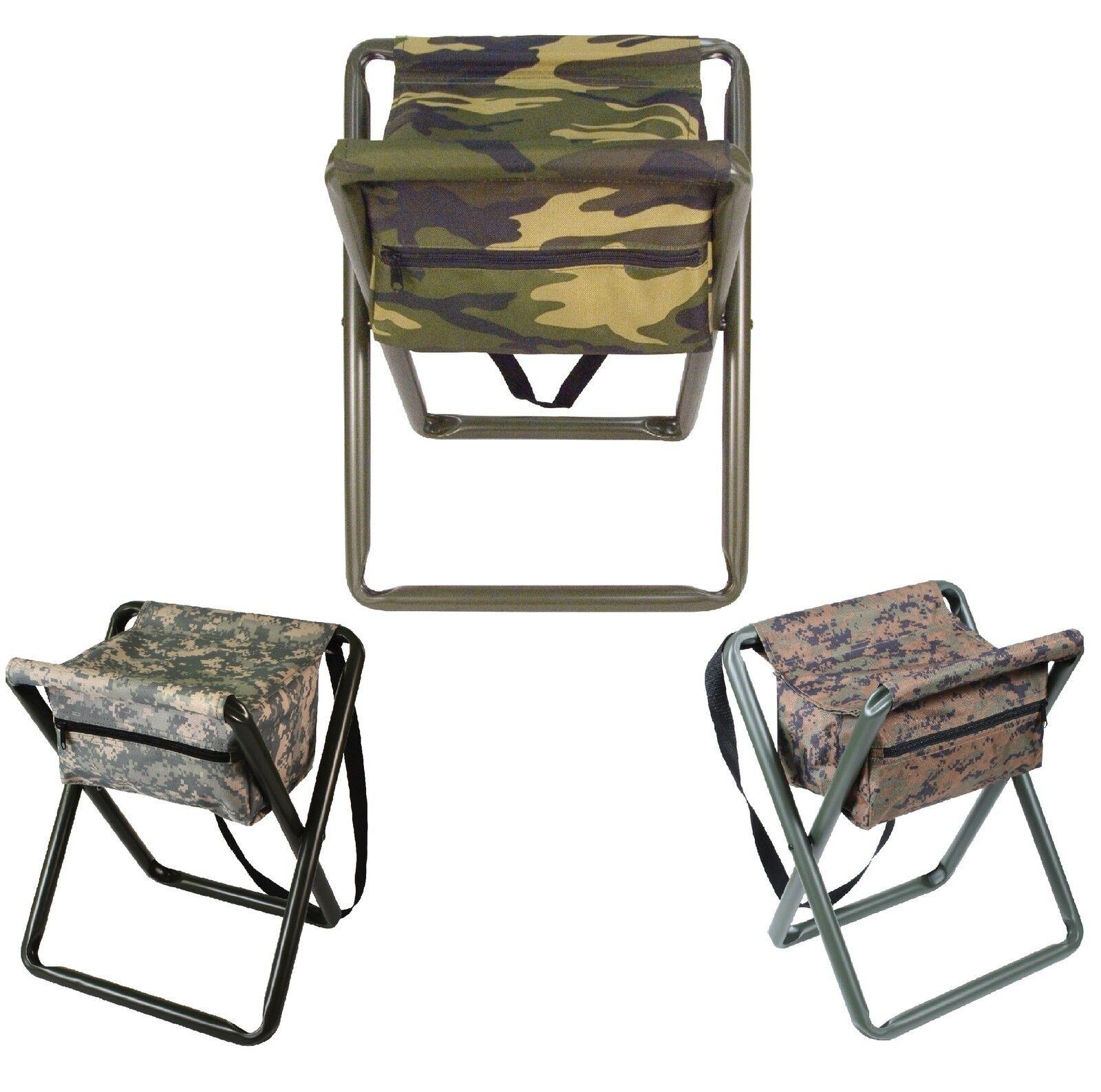 Deluxe Camo Folding Camp Stool W Pouch - Woodland, ACU Digital, Woodland Digital