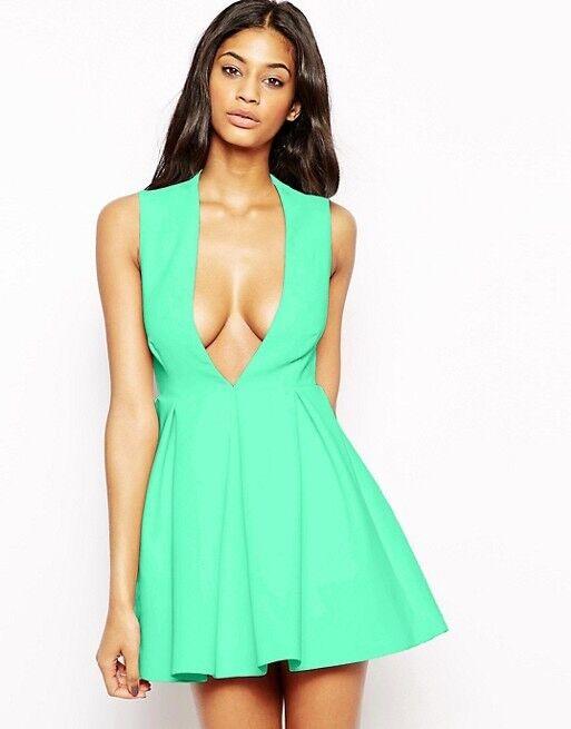 Aq Aq Ober Mini Kleid Mit Tief Ausgeschnitten Grün Minikleid Us 2 /uk 6