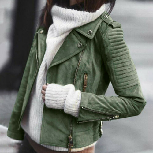 Women Vintage Leather Zipper Short Simple Motorcycle Slim Coat Retro Jacket CHEN