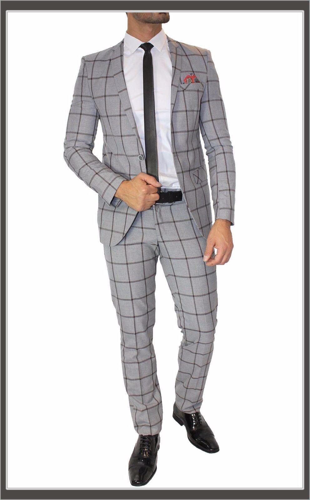 Fc Plus  Anzug Set Kariert Tailliert Doppelschlitz Hemd Krawatte grau Karo 46