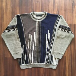 VTG-90s-Sweater-Colorful-Cosby-Crew-Neck-Mens-Medium-80s-Cable-Knit-Striped-OG