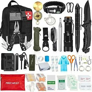 AOKIWO 200Pcs Emergency Survival Kit Professional Survival Gear Tool First Aid K