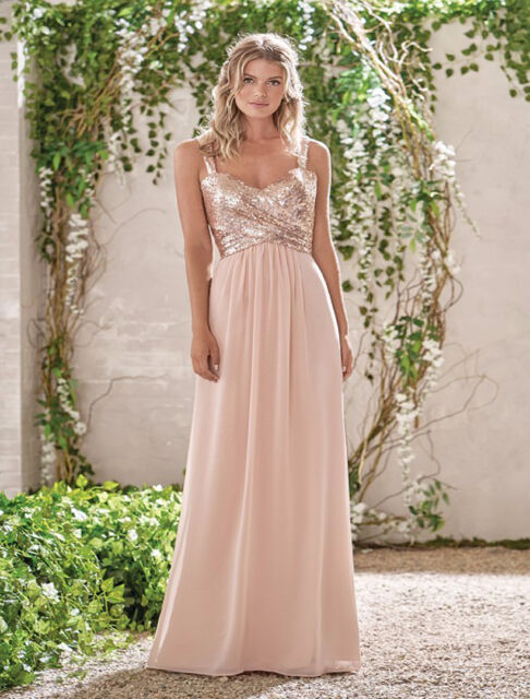 Rose Gold Sequin Chiffon Bridesmaid Dresses Long Maid Of The Bride ...