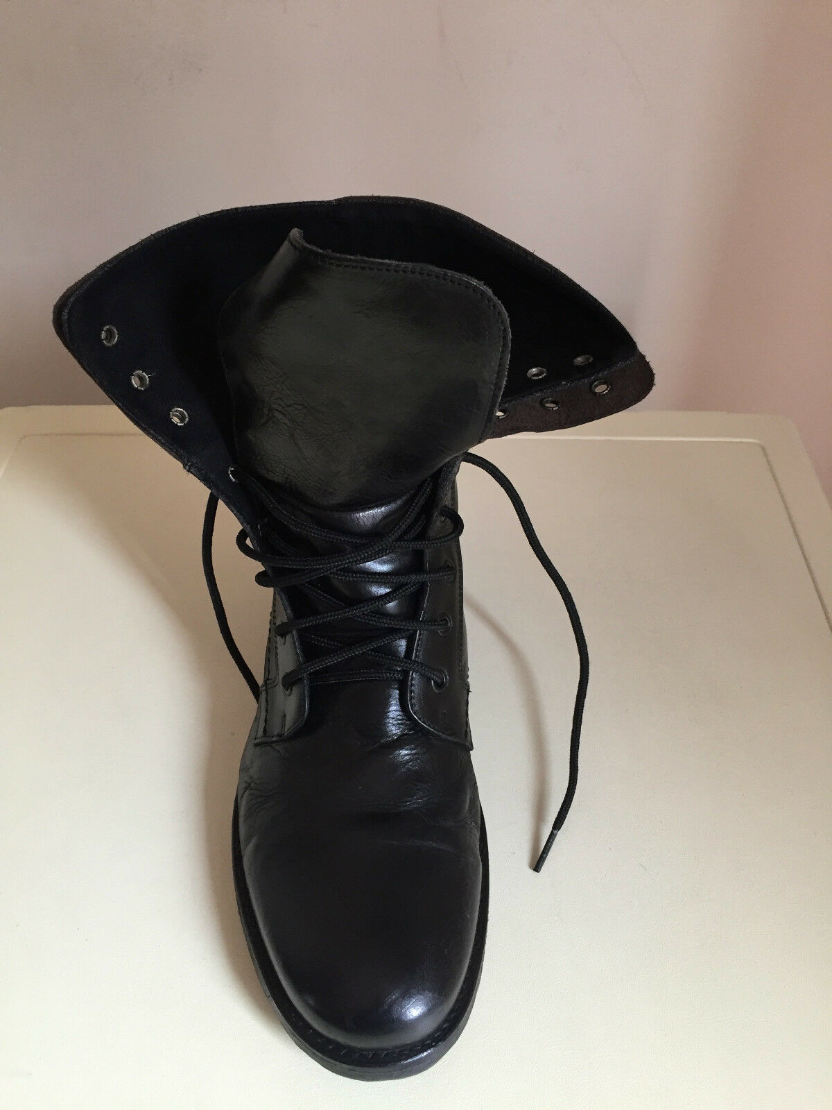MEN COMBAT BLACK LEATHER BOOTS SIZE 43