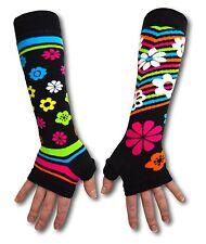 United Oddsocks Black Long Arm Warmer Sleeves Bright Flowers Fingerless Gloves