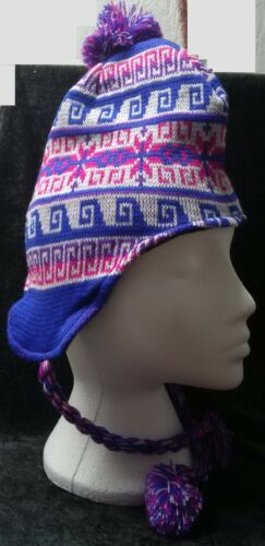 UNISEX MENS LADIES KNITTED PERUVIAN HAT FLEECE LINED WITH EARFLAPS PINK BLUE 14