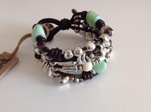 "NWT Uno de 50 Silvertone//Leather//Silver//White//Light Green Beaded Bracelet 7/"" /""Go"