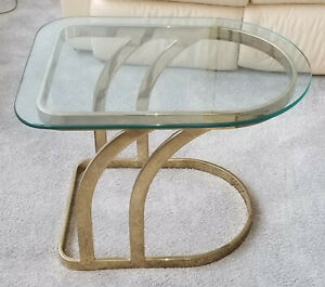 VINTAGE-1970-039-S-LEON-ROSEN-for-PACE-GILDED-LUNA-GLASS-TOP-OCCASIONAL-SIDE-TABLE