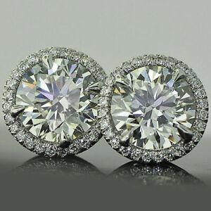 4Ct-Round-Cut-Moissanite-14K-White-Gold-Finish-Halo-Stud-Earrings-For-Women-039-s