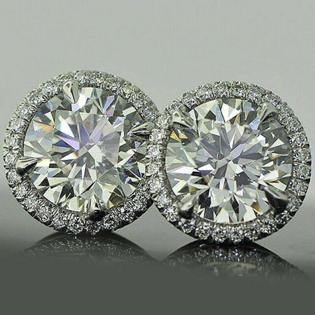 4Ct Round Cut Moissanite 14K White Gold Finish Halo Stud Earrings For Women's
