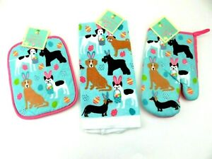 Easter Kitchen Towel Dogs wearing Bunny Ears w// Easter Basket Eggs Set//2