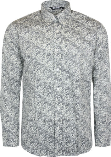 Relco Mens White Navy Paisley Long Sleeved Button Down Vintage Shirt Mod 60/'s