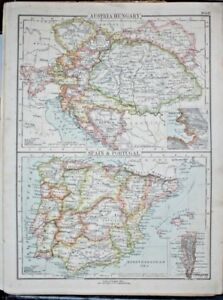 Map Of Spain Portugal And Italy.Details About Original 1895 Coloured Sheet Map Austria Hungary Spain Portugal Italy Balkan St
