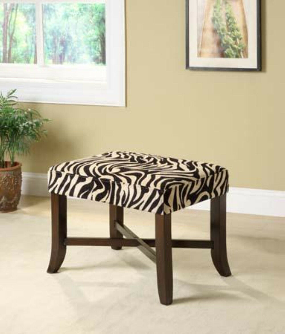 19.25''H Modern Design CLASSIC ESPRESSO FINISH WOOD XBENCH with ZEBRA PRINT-ASDI