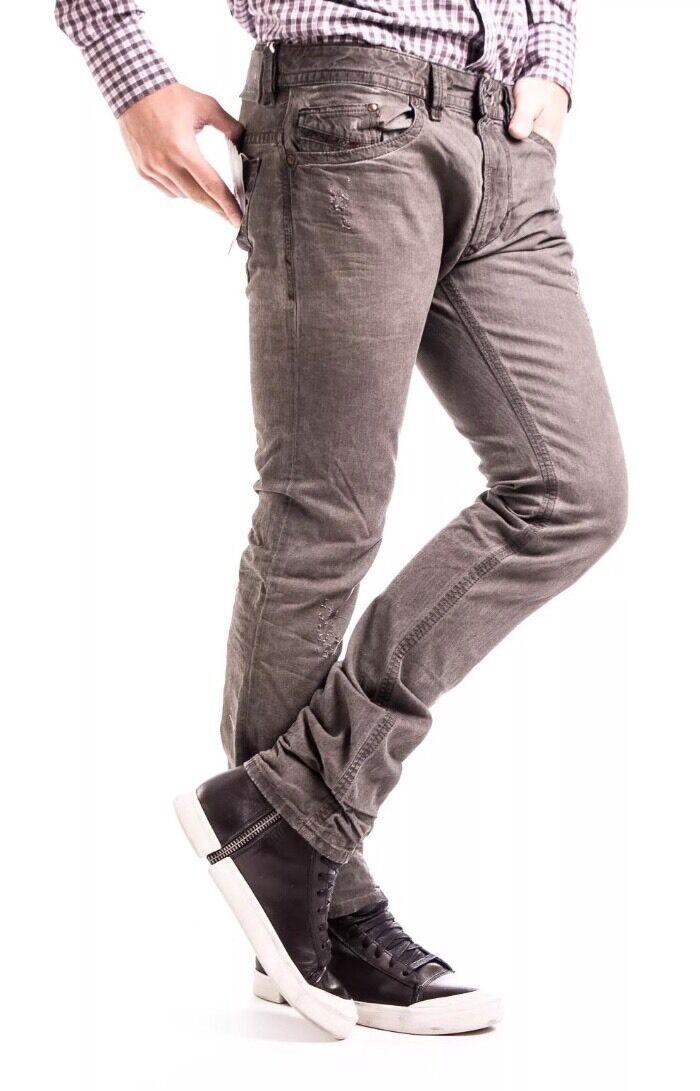 DIESEL THAVAR W32 L32 0802K 0802K 0802K d.n.a Uomo trattati Slim Jeans Attillati 100% AUTENTICO 3987bc