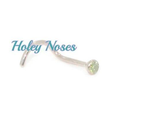 18ct White Gold Green Diamond 0.03ct Nose Stud Ring Bone Pin Body jewellery