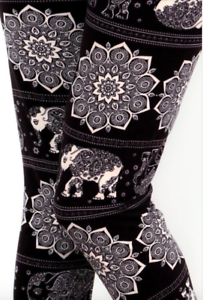 Elephant Leggings Black /& White Tribal Ethnic Print Buttery Soft ONE SIZE OS