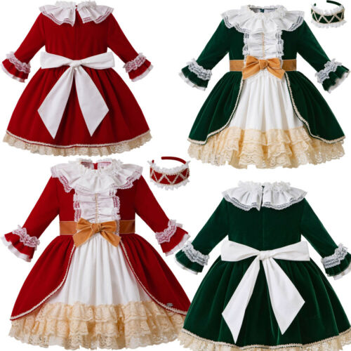 Kids Girls Lace Bow Dress Christmas Wedding Party Ribbons Petal Sleeve Skirts