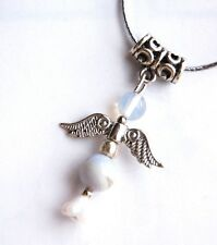 Blue Lace Agate Crystal Guardian Angel Pendant on Silver Cord - Communication