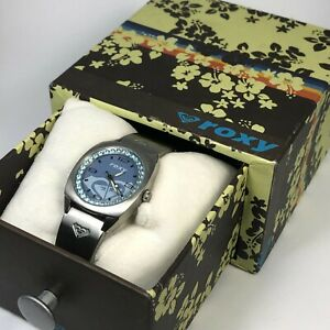Roxy Womens W024BF Blue Dial Silver Stainless Steel Crystal Accent Wristwatch