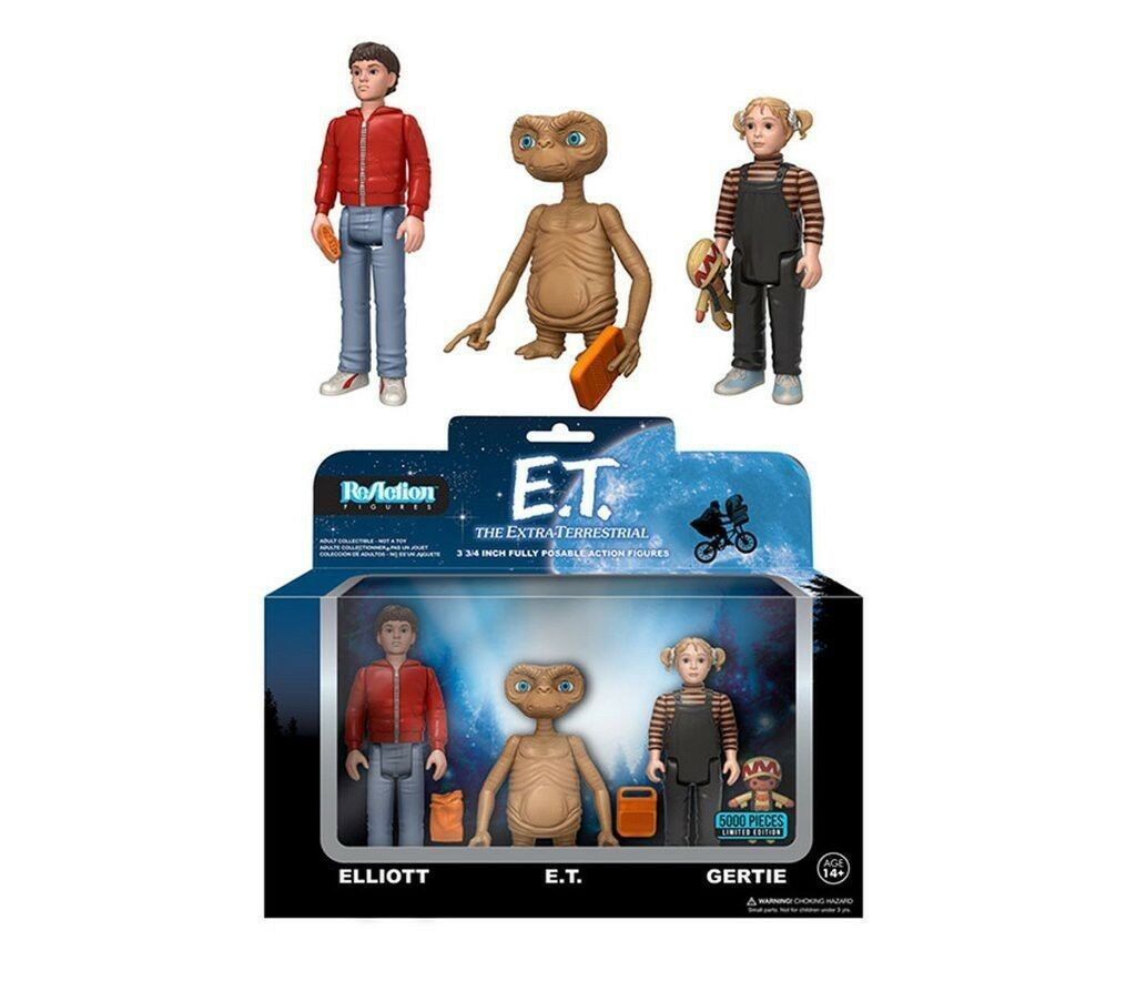 E.T. EXTRATERRESTRE Box 3 FIGURE 10cm ET Elliot Gertie FUNKO ReACTION Figures