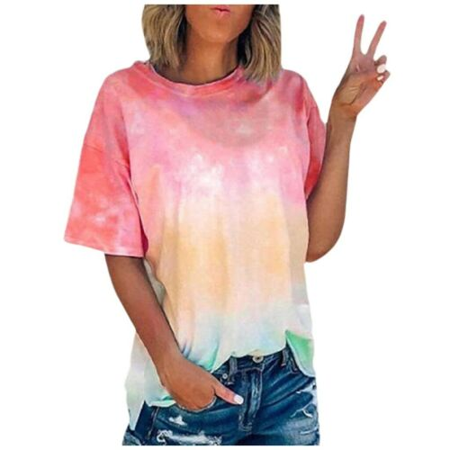 Womens Summer Short Sleeve Tie-dyed T Shirt Casual Plus Size Boho Tops Blouse US