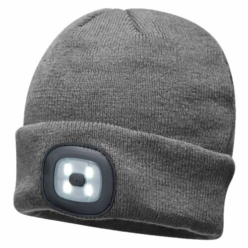 Portwest LED Beanie Rechargeable Twin Torch Lighting Cap Light Hat Bike B028