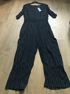 M/&S Size 14S 20L 22S Black Striped Elasticated Waist Wide Leg Jumpsuit Bnwt