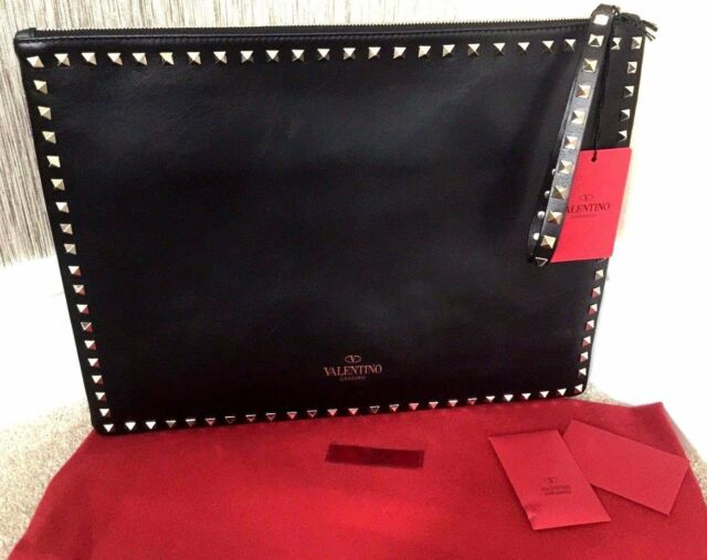 322f6d135c26 valentino Black Leather Rockstud Clutch Pochette Made in Italy for ...