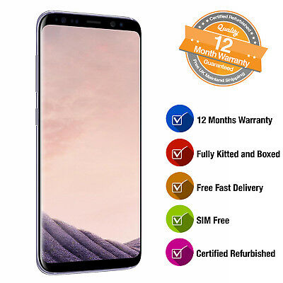 Samsung Galaxy S8 SM-G950F 64GB SIM Free Smartphone in Orchid Grey Refurbished