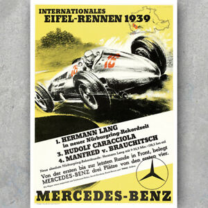 Vintage 1938 Mercedes Benz Motor Racing Poster  A3 Print