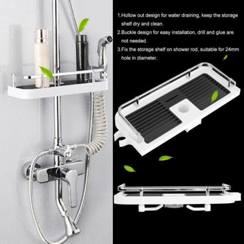 Black//White Largre Bathroom Pole Shelf Shower Storage Caddy Rack Organiser Tray