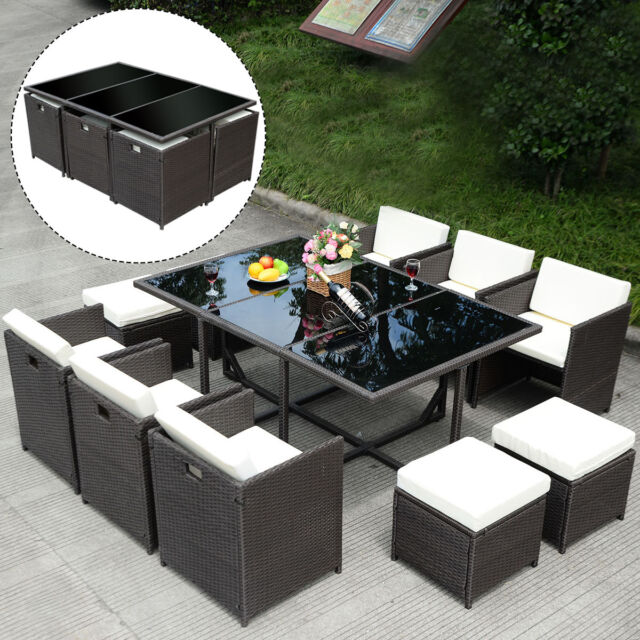 11 Pcs Outdoor Patio Dining Set Metal Rattan Wicker Furniture Garden Cushioned