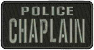 POLICE CHAPLAIN2  Embroidery Patches 3X6 hook on back BLACK//white