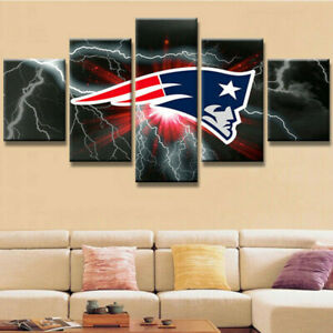 New England Patriots Home Decor.New England Patriots Football 5 Pcs Painting Printed Canvas