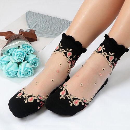Ultrathin Fashion Crystal Glass Lace Short Elastic Socks Women Girls Transparent