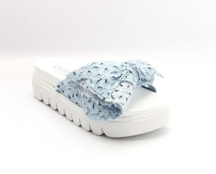 Nando Muzi 280 Sky bleu Jeans Bow blanc Sole Platform Slides 39   US 9