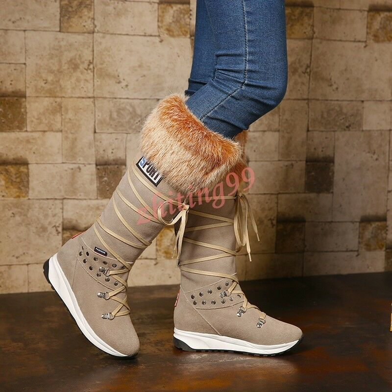 Donna Fur Trim Lace Winter Up Winter Lace Snow Knee High Suede Rivet  Stivali Platform Shoes fe7f01