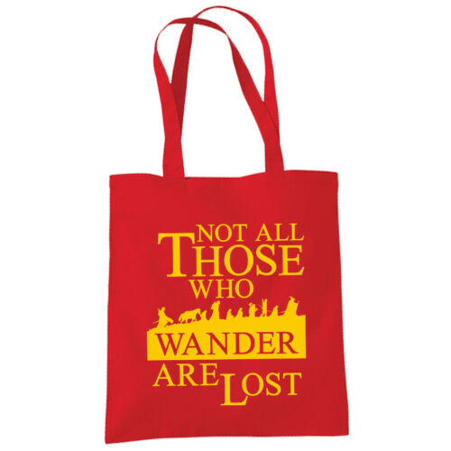 Not All Those Who Wander Are Lost Shopper Tote Bag LOTR Hobbit Inspired Fan Bags