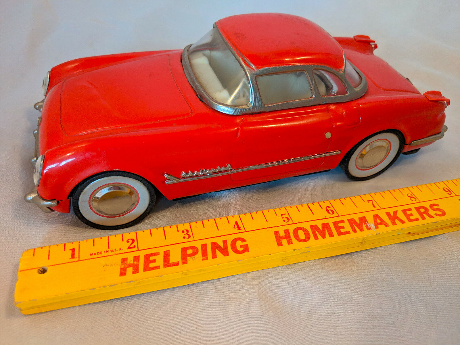 Rare 1955 50s Red Red Red Chevrolet Corvette Friction Car Japan GM Dealer HARDTOP Chevy 4bc2e6