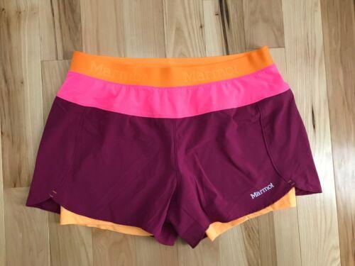 MARMOT Active UPF 30 Pulse Purple Pink Orange Womens Running Shorts Sz M NWOT