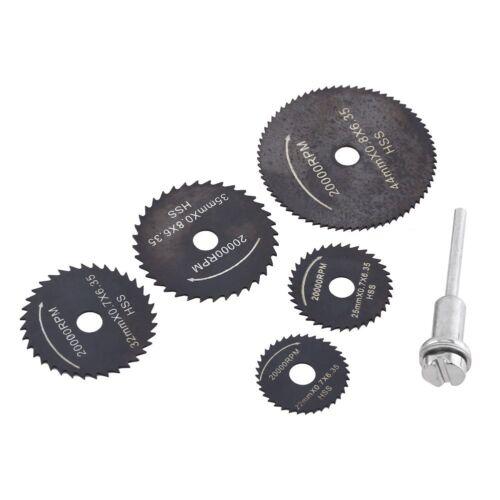 6PCS Outil HSS Lames de scie circulaire Dremel Rotary bois//métal coupe Mandrin