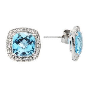Details About 14k White Gold Diamond Blue Topaz Topaz Cushion Cut Halo Stud Studs Earrings