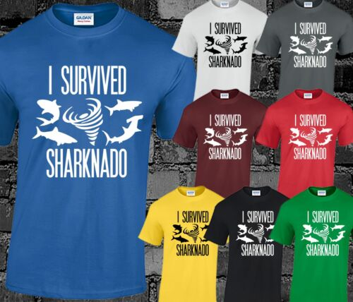I Survived Sharknado Mens T Shirt Movie Film Cult Sci-fi Funny Print Slogan Cool