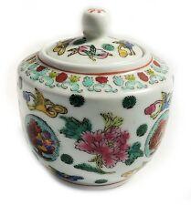 Gorgeous Chinese Antique Famille Rose Porcelain lidded Jar Flower & Birds Marked
