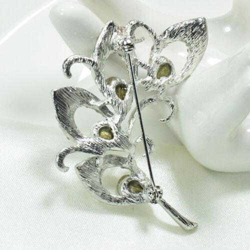 Klare Kristall Blätter Hochzeit Charms Schal Sicherheitsnadel Brosche Geschenk