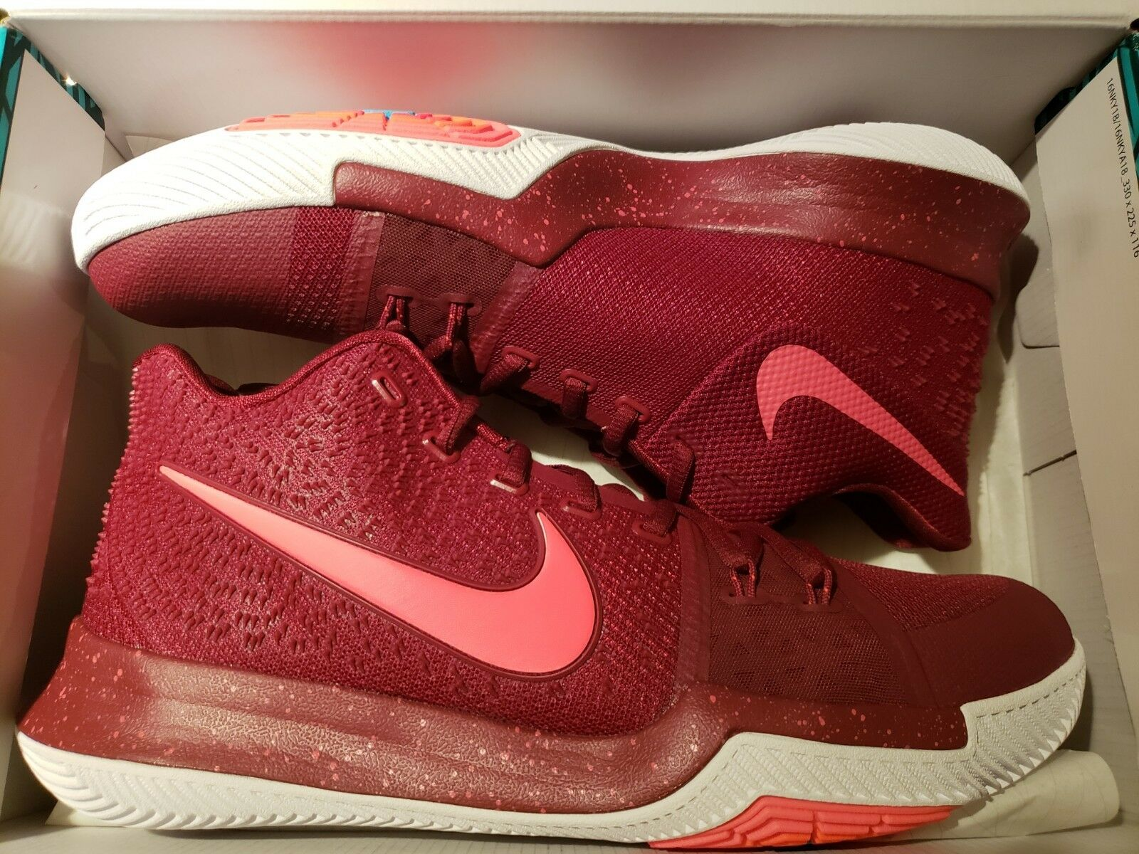 the latest 4711e a8498 Nike Kyrie 3 3 3 Hot Punch Sz 11 Team Red White Irving Basketball Shoes  852395