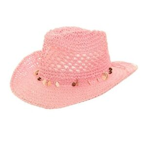 e3672424a94 Girls Crushable Straw Cowboy Hat with shell band and Shapeable brim ...