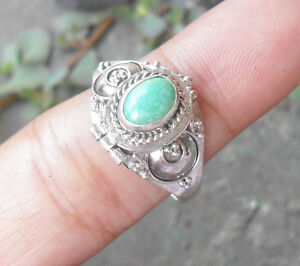 925-Sterling-Silver-LF21-Balinese-Poison-Wish-Locket-Ring-With-Turquoise-Size-9