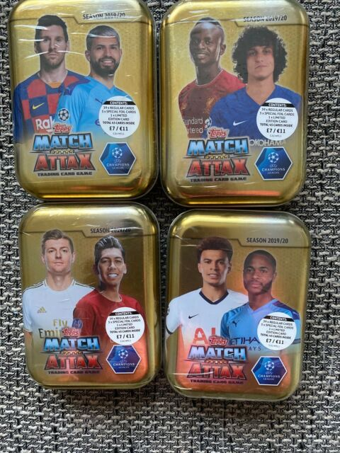 TOPPS MATCH ATTAX SEASON 2019/20 TRADING CARD 4x MINI TINs UEFA CHAMPIONS LEAGUE